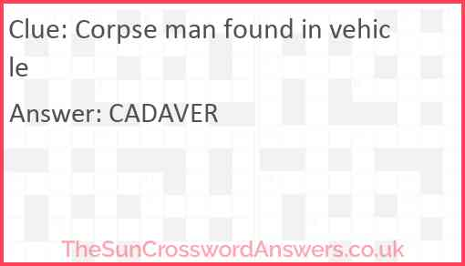 Corpse man found in vehicle Answer