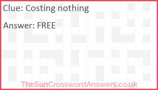 Costing nothing Answer