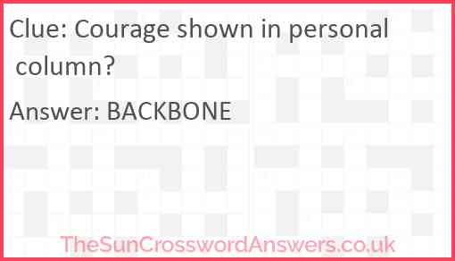 Courage shown in personal column? Answer