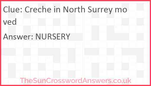 Creche in North Surrey moved Answer