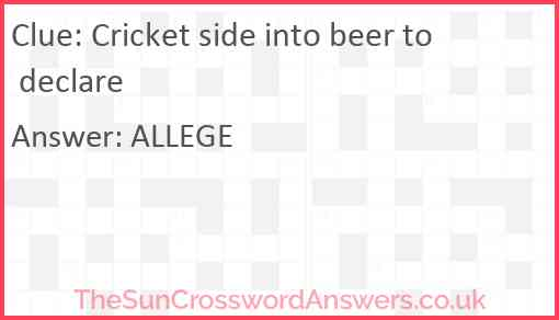 Cricket side into beer to declare Answer