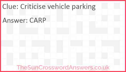 Criticise vehicle parking Answer