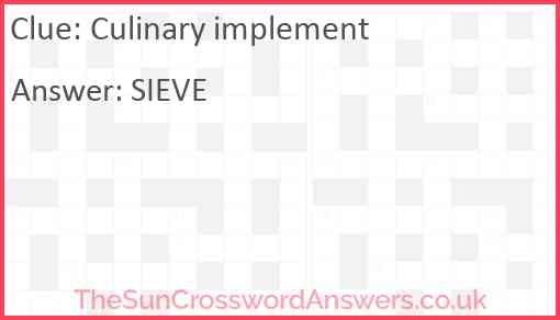 Culinary implement Answer