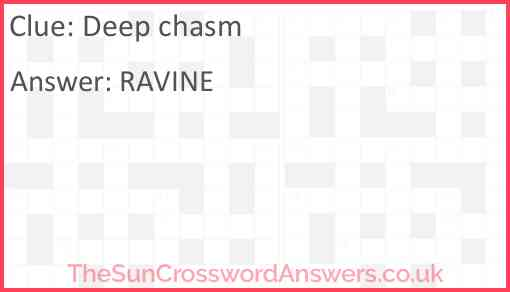 Deep chasm Answer