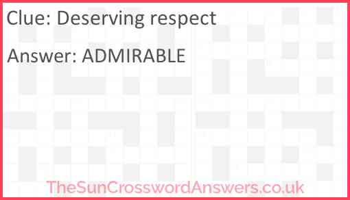 Deserving respect Answer