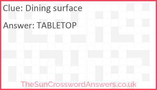 Dining surface Answer