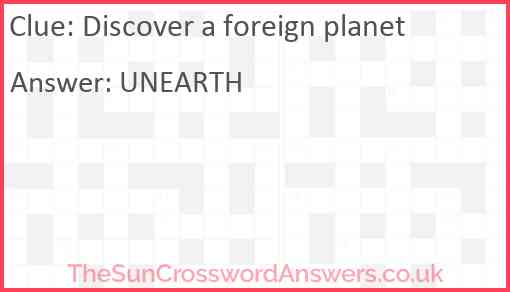 Discover a foreign planet Answer