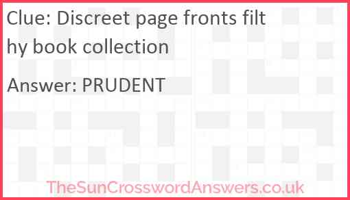 Discreet page fronts filthy book collection Answer