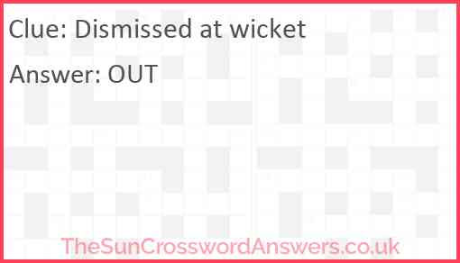 Dismissed at wicket Answer