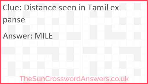 Distance seen in Tamil expanse Answer