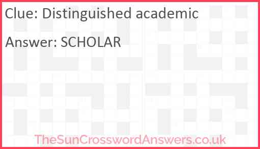 Distinguished academic Answer