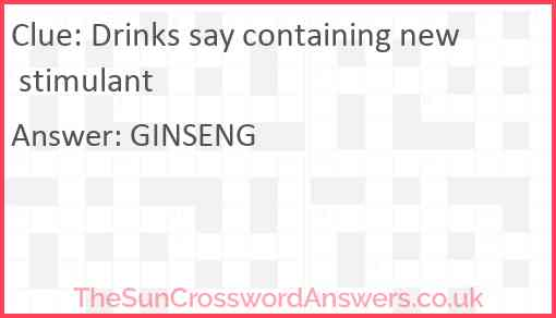 Drinks say containing new stimulant Answer