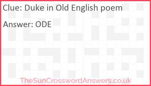 Duke in Old English poem Answer