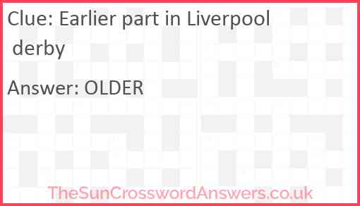 Earlier part in Liverpool derby Answer