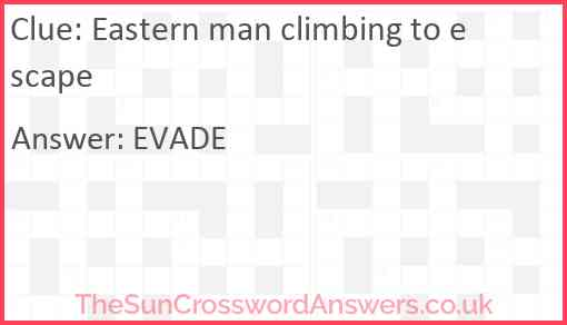Eastern man climbing to escape Answer