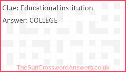 Educational institution Answer