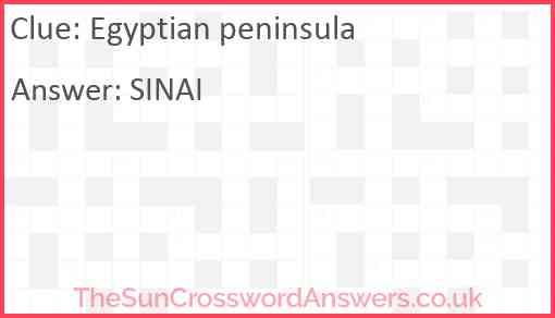 Egyptian peninsula Answer