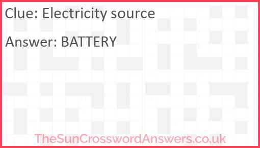 Electricity source Answer