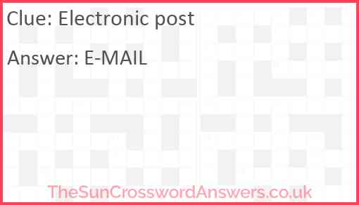 Electronic post Answer