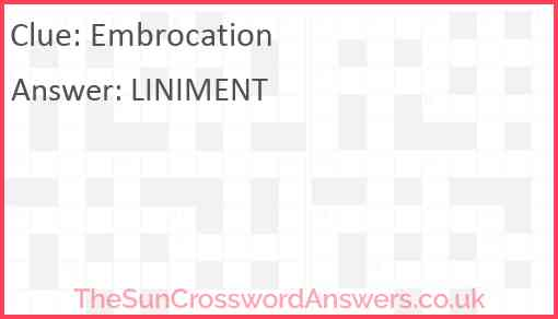 Embrocation Answer
