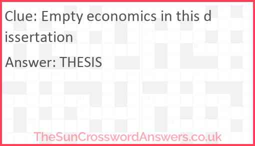 Empty economics in this dissertation Answer