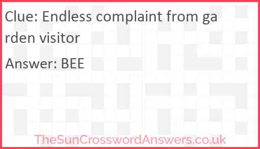 Endless complaint from garden visitor Answer