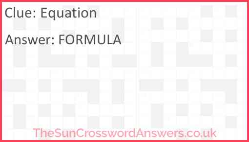 Equation Answer