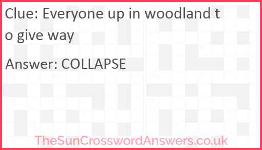 Everyone up in woodland to give way Answer