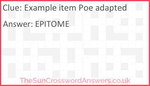 Example item Poe adapted Answer