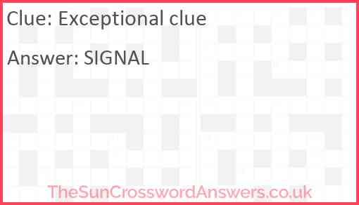 Exceptional clue Answer