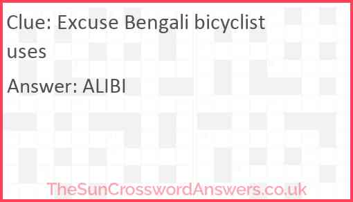Excuse Bengali bicyclist uses Answer