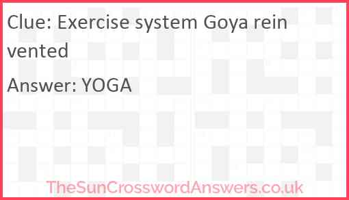 Exercise system Goya reinvented Answer