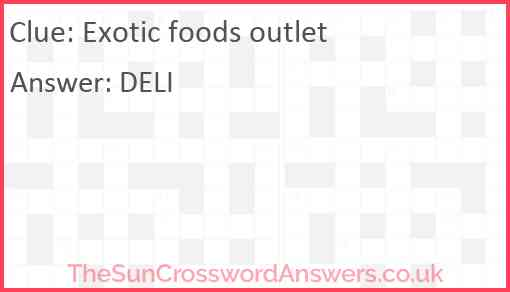 Exotic foods outlet Answer