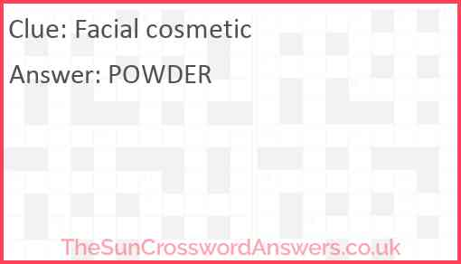 Facial cosmetic Answer