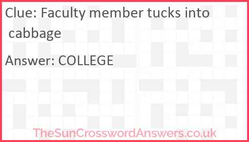 Faculty member tucks into cabbage Answer