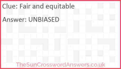 Fair and equitable Answer