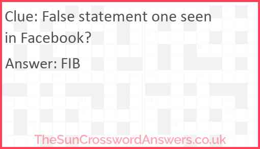 False statement one seen in Facebook? Answer