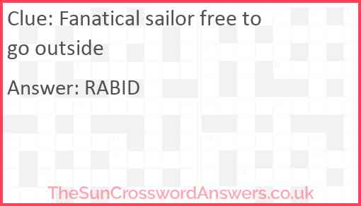 Fanatical sailor free to go outside Answer