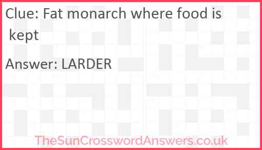Fat monarch where food is kept Answer