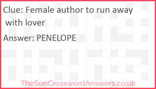Female author to run away with lover Answer