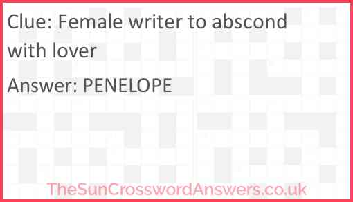 Female writer to abscond with lover Answer