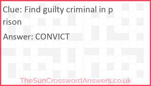 Find guilty criminal in prison Answer