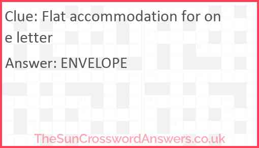 Flat accommodation for one letter Answer