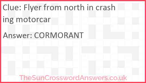 Flyer from north in crashing motorcar Answer