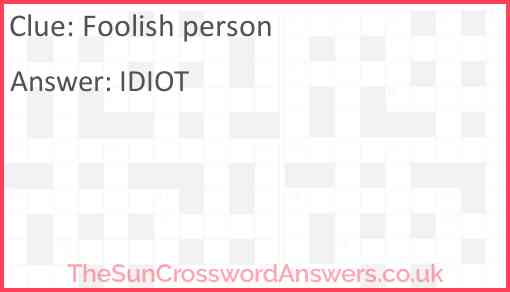 Foolish person Answer
