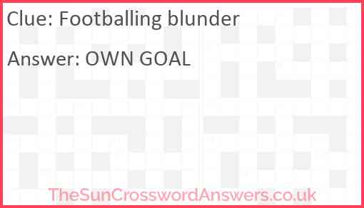 Footballing blunder Answer