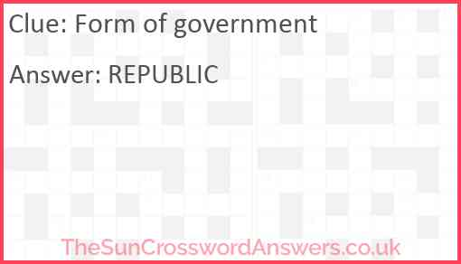Form of government Answer