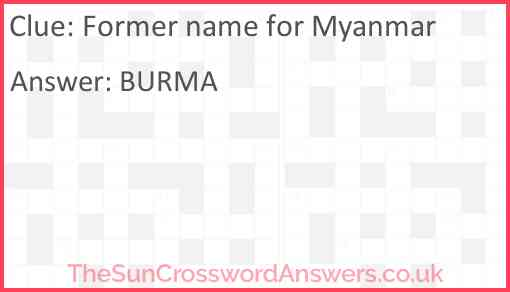 Former name for Myanmar Answer