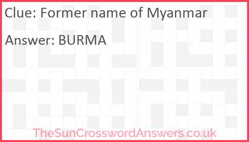 Former name of Myanmar Answer