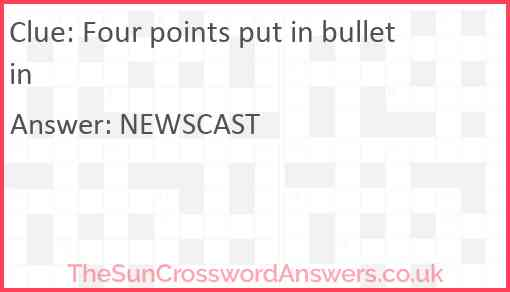 Four points put in bulletin Answer